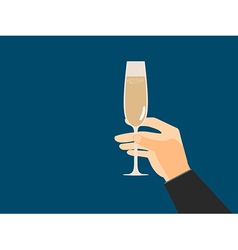 Hand with glass of champagne in flat style vector