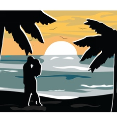 Summer night beach view card vector