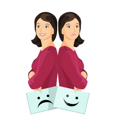 Bipolar woman smiling and upset holding paper with vector