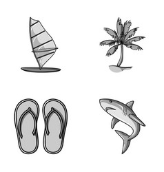 Board with a sail a palm tree on the shore vector