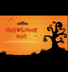 Halloween night with tree scary landscape vector