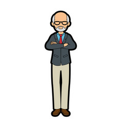 Isolated standing old man vector