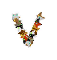 Letter v cat font pet alphabet symbol home animal vector