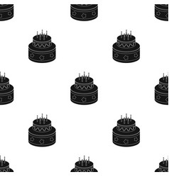 chocolate cake with stars icon in black style vector image