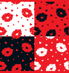 seamless pattern with lips and hearts vector image