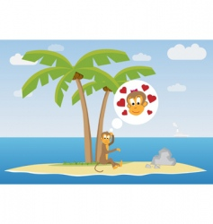 sad monkey vector image