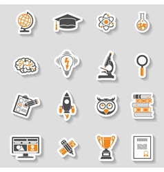 Education icon sticker set vector