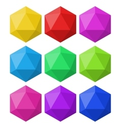 Icosahedron in different colors for design and vector