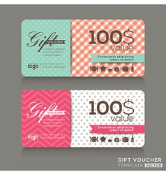 Cute gift voucher certificate coupon template vector
