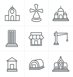 Line icons style set of house icons vector