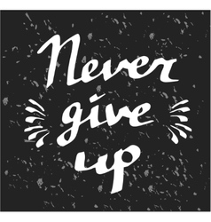 Hand drawn typography poster never give up vector