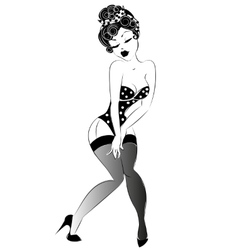 Sexy pin-up girl in lingerie vector