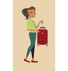 Woman cheking her suitcase weight vector image