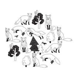 Fox forest black isolate objects white vector