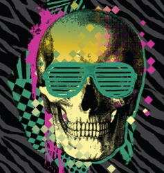 80s skull vector image vector image