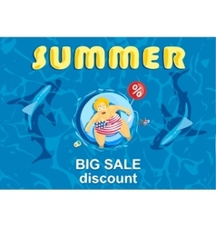 Summer big discount shark around a fat man on vector
