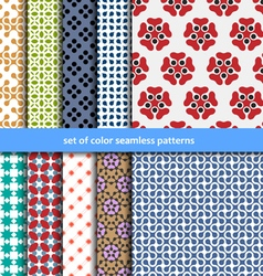 Colored patterns collection for seamless vector