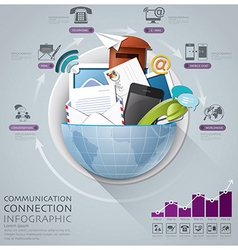 Global communication and connection infographic vector