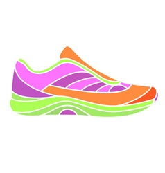 Bright sneaker on white background vector