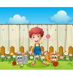 A boy with two cats inside the fence vector image