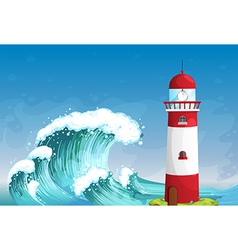 A lighthouse in the middle of the sea with high vector