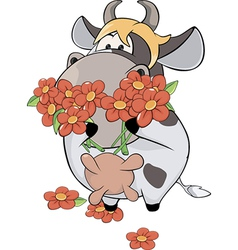 A small cow and flowers cartoon vector