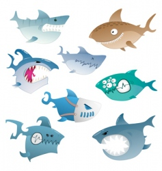 angry sharks vector image