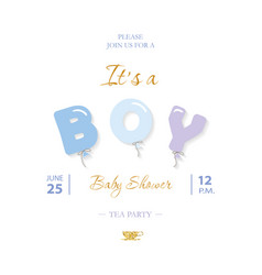 boy baby shower cute template party invitation vector image vector image
