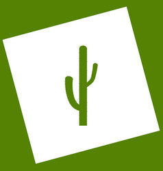 Cactus simple sign white icon obtained as vector