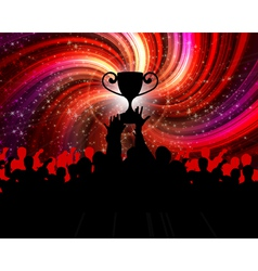 cheering crowd with trophy vector image vector image