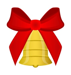 Christmas bell with red bow vector image