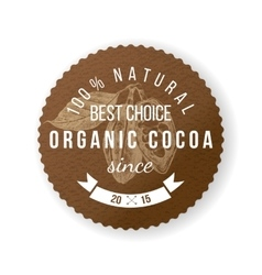 cocoa round label with type design vector image vector image