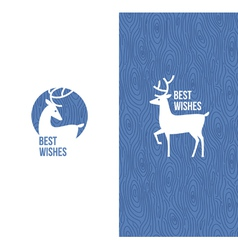 Deer on retro wooden blue background vector image vector image