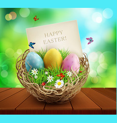 Easter background with basket and eggs standing vector
