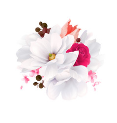 elegance flowers bouquet of white beautiful vector image