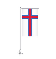 Flag of faroe islands hanging on a pole vector