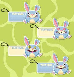 Four cute cartoon Rabbits stickers vector image vector image