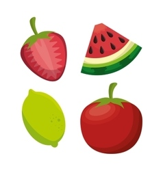 fresh food healthy fruit and tomato design vector image