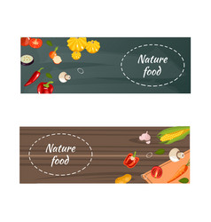 fresh natural food horizontal banners vector image