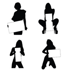 girl beauty set silhouette with card in hand vector image vector image