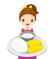 Girl Showing Mango With Sticky Rice On Dish vector image vector image