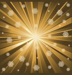 Gold rays and snowflakes vector