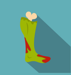 Green foot of zombie in the blood icon flat style vector