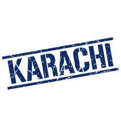 Karachi blue square stamp vector
