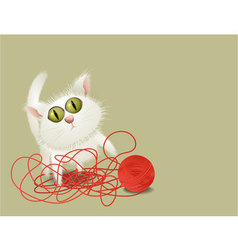 Little cat playing with ball of wool vector