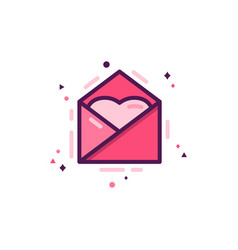 love message icon with heart happy valentines day vector image