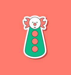 Paper sticker on stylish background clown toy vector