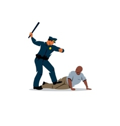 Police violence on the black offender vector image vector image
