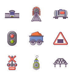 Railway icons set flat style vector