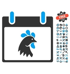 Rooster head calendar day icon with bonus vector